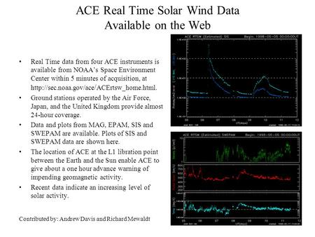 ACE Real Time Solar Wind Data Available on the Web Real Time data from four ACE instruments is available from NOAA's Space Environment Center within 5.