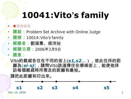 Mar. 14, 20061 10041:Vito ' s family ★☆☆☆☆ 題組: Problem Set Archive with Online Judge 題號: 10014:Vito's family 解題者:劉淑惠、侯沛彣 解題日期: 2006 年 3 月 9 日 題意: Vito.