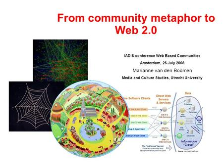 From community metaphor to Web 2.0 IADIS conference Web Based Communities Amsterdam, 26 July 2008 Marianne van den Boomen Media and Culture Studies, Utrecht.