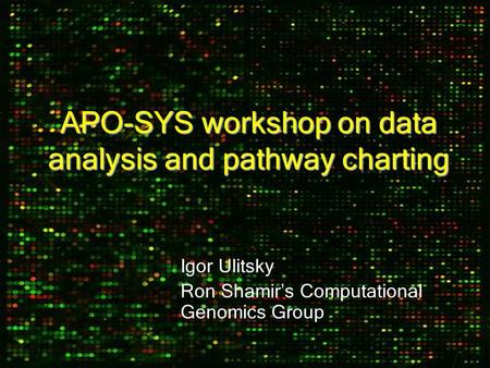 APO-SYS workshop on data analysis and pathway charting Igor Ulitsky Ron Shamir ' s Computational Genomics Group.