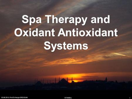 Spa Therapy and Oxidant Antioxidant Systems 03.06.2015 / Prof Dr Nergis ERDOGAN ISTANBUL 1.