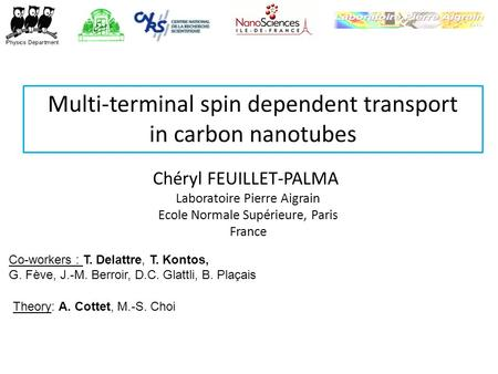 Multi-terminal spin dependent transport in carbon nanotubes Chéryl FEUILLET-PALMA Laboratoire Pierre Aigrain Ecole Normale Supérieure, Paris France Co-workers.