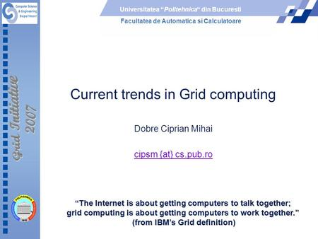 Current trends <strong>in</strong> Grid computing
