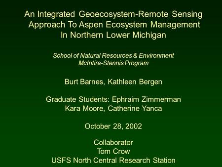 An Integrated Geoecosystem-Remote Sensing Approach To Aspen Ecosystem Management In Northern Lower Michigan School of Natural Resources & Environment McIntire-Stennis.