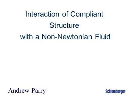 Interaction of Compliant Structure with a Non-Newtonian Fluid Andrew Parry.