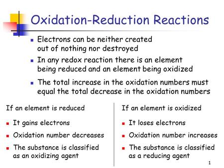 1 Oxidation-Reduction Reactions Electrons can be neither created out of nothing nor destroyed If an element is reduced It gains electrons Oxidation number.