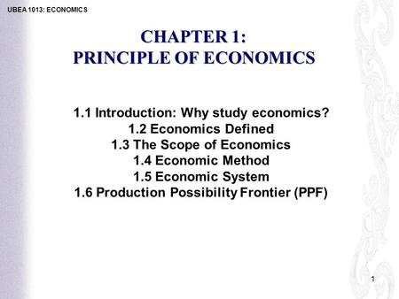 PRINCIPLE OF ECONOMICS