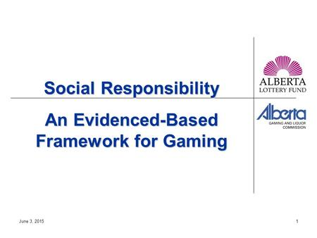 June 3, 20151 Social Responsibility An Evidenced-Based Framework for Gaming.