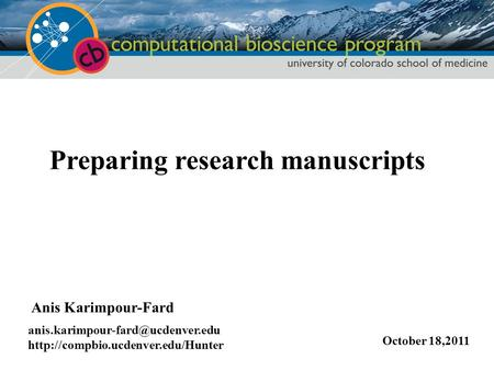 Preparing research manuscripts