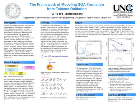 The Framework of Modeling SOA Formation from Toluene Oxidation Di Hu and Richard Kamens Department of Environmental Sciences and Engineering, University.