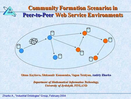 "Zharko A., ""Industrial Ontologies"" Group, February 2004 Community Formation Scenarios in Peer-to-Peer Web Service Environments Olena Kaykova, Oleksandr."