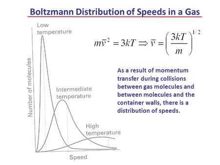 Boltzmann Distribution of Speeds in a Gas As a result of momentum transfer during collisions between gas molecules and between molecules and the container.