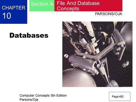 Computer Concepts 5th Edition Parsons/Oja Page 492 CHAPTER 10 File And Database Concepts Section A PARSONS/OJA Databases.