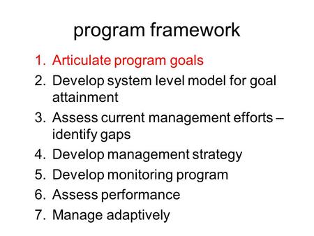 Program framework 1.Articulate program goals 2.Develop system level model for goal attainment 3.Assess current management efforts – identify gaps 4.Develop.