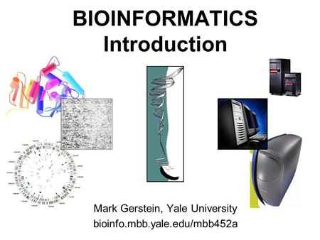 1 (c) Mark Gerstein, 1999, Yale, bioinfo.mbb.yale.edu BIOINFORMATICS Introduction Mark Gerstein, Yale University bioinfo.mbb.yale.edu/mbb452a.