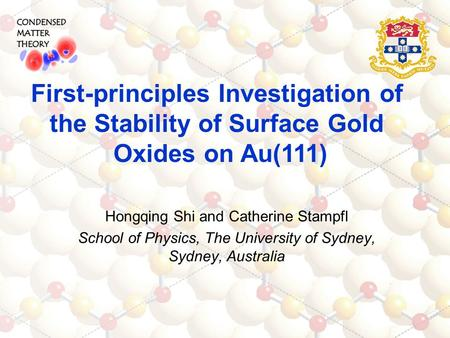 Hongqing Shi and Catherine Stampfl School of Physics, The University of Sydney, Sydney, Australia First-principles Investigation of the Stability of Surface.
