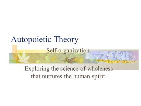 Autopoietic Theory Self-organization. or Exploring the science of wholeness that nurtures the human spirit.