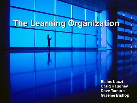 The Learning Organization Elaine Luczi Craig Haughey Dave Tamura Graeme Bishop.