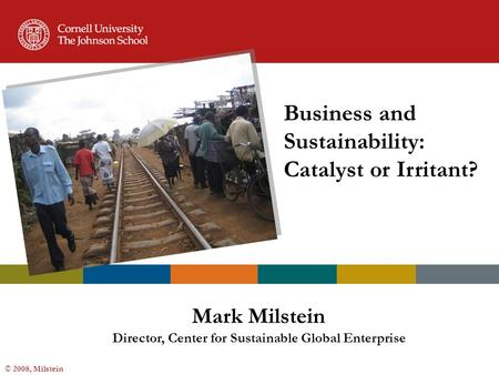 © 2008, Milstein Business and Sustainability: Catalyst or Irritant? Mark Milstein Director, Center for Sustainable Global Enterprise.