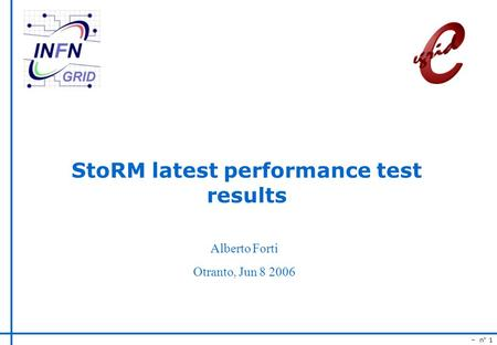 – n° 1 StoRM latest performance test results Alberto Forti Otranto, Jun 8 2006.