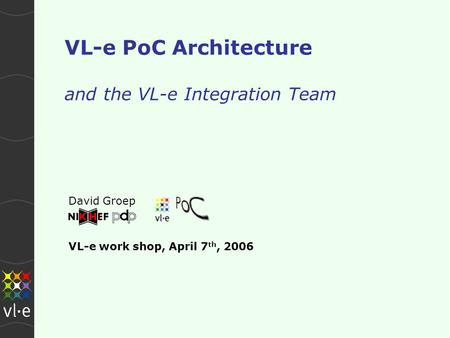 VL-e PoC Architecture and the VL-e Integration Team David Groep VL-e work shop, April 7 th, 2006.