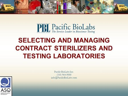 SELECTING AND MANAGING CONTRACT STERILIZERS AND TESTING LABORATORIES