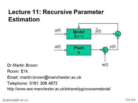 EE-M110 2006/7: EF L11 1/14, v2.0 Lecture 11: Recursive Parameter Estimation Dr Martin Brown Room: E1k   Telephone: