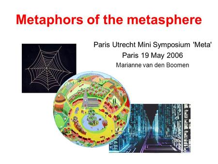 Metaphors of the metasphere Paris Utrecht Mini Symposium 'Meta' Paris 19 May 2006 Marianne van den Boomen.