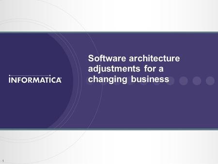 1 Software architecture adjustments for a changing business.