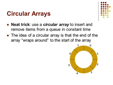 Circular Arrays Neat trick: use a circular array to insert and remove items from a queue in constant time The idea of a circular array is that the end.