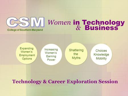 Women in Technology College of Southern Maryland Expanding Women's Employment Options Increasing Women's Earning Power Shattering the Myths Choices Knowledge.