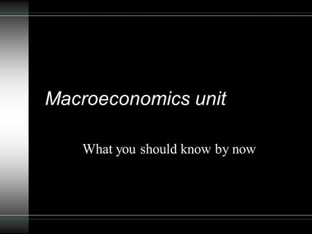Macroeconomics unit What you should know by now. You should be able to : Define the following: Gross Domestic Product (GDP) & the 4 components Unemployment.