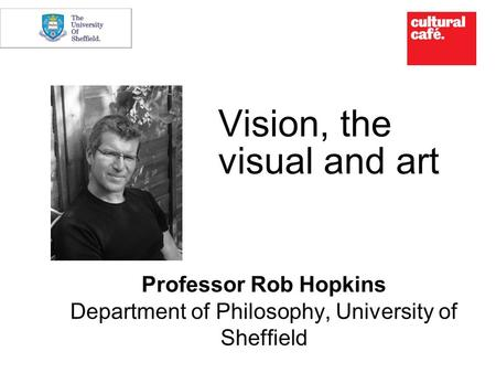 Vision, the visual and art Professor Rob Hopkins Department of Philosophy, University of Sheffield.