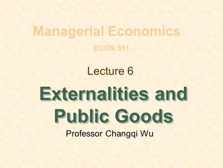 Externalities and Public Goods
