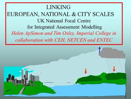 LINKING EUROPEAN, NATIONAL & CITY SCALES UK National Focal Centre for Integrated Assessment Modelling Helen ApSimon and Tim Oxley, Imperial College in.