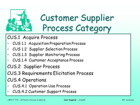 CMPUT 770 - Software Process & QualityCust-Supplier - slide#1  P. Sorenson Customer Supplier Process Category CUS.1 Acquire Process CUS 1.1 Acquisition.