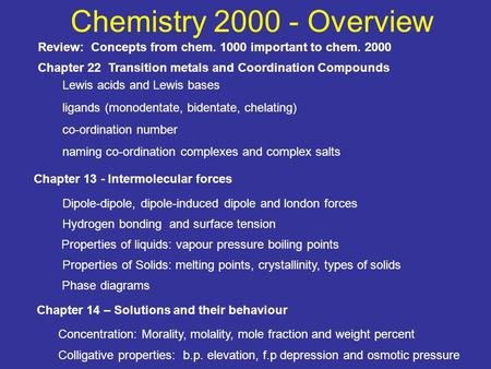 Chemistry 2000 - Overview Review: Concepts from chem. 1000 important to chem. 2000 Chapter 13 - Intermolecular forces Chapter 14 – Solutions and their.