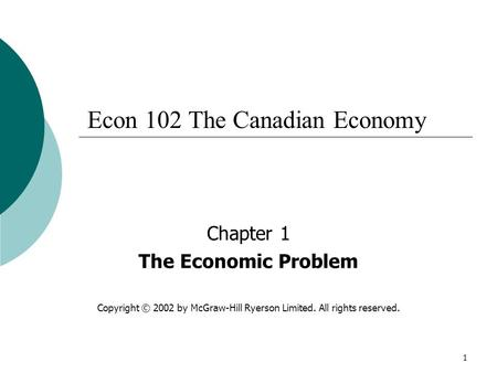 Econ 102 The Canadian Economy