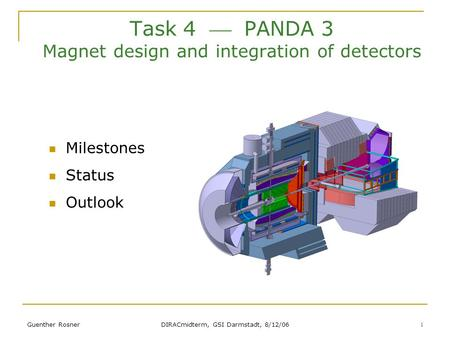 Guenther Rosner DIRACmidterm, GSI Darmstadt, 8/12/06 1 Task 4  PANDA 3 Magnet design and integration of detectors Milestones Status Outlook.