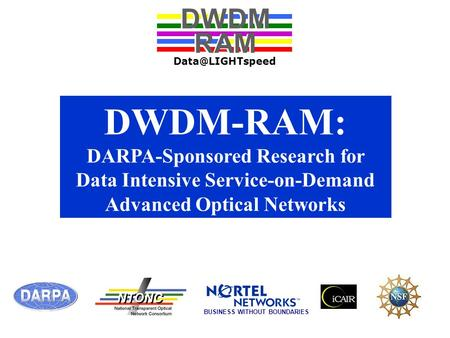 DWDM-RAM: DARPA-Sponsored Research for Data Intensive Service-on-Demand Advanced Optical Networks DWDM RAM DWDM RAM BUSINESS WITHOUT BOUNDARIES.