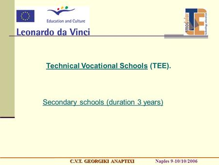 Technical Vocational Schools (TEE). Secondary schools (duration 3 years) C.V.T. GEORGIKI ANAPTIXI C.V.T. GEORGIKI ANAPTIXI Naples 9-10/10/2006.