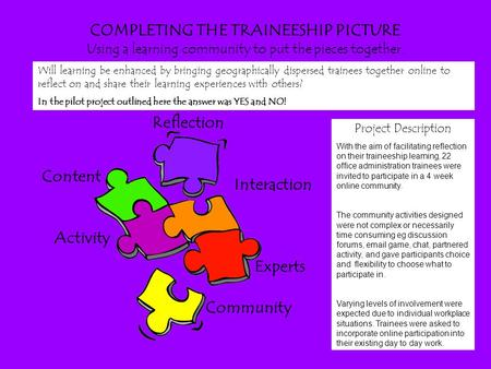 COMPLETING THE TRAINEESHIP PICTURE Using a learning community to put the pieces together. Reflection Content Activity Interaction Experts Community Project.
