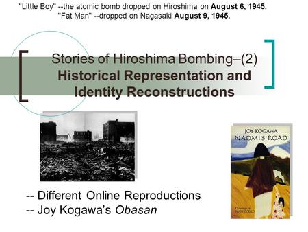 an analysis of the japanese discrimination during wwii in obasan by joy kogawa The issei are greatly admired by kogawa, although in canada most of them are now gone some, under pressure, returned to japan after world war ii, while others, with the passing years, have died the novel's five-year-old narrator, naomi, sees her mother leave on a ship for japan in september, 1941, to take the child's grandmother to visit great-grandmother, aged and ailing in the former homeland.