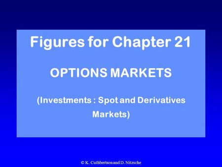 © K. Cuthbertson and D. Nitzsche Figures for Chapter 21 OPTIONS MARKETS (Investments : Spot and Derivatives Markets)