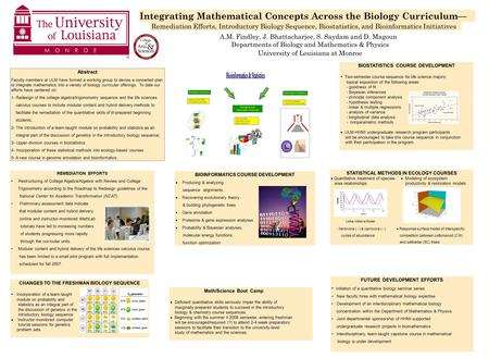 Integrating Mathematical Concepts Across the Biology Curriculum— Remediation Efforts, Introductory Biology Sequence, Biostatistics, and Bioinformatics.