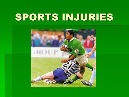 SPORTS INJURIES. Chronic and Acute  Chronic injuries are caused by continuous stress over a long period of time  i.e. Golfers elbow, tennis elbow, shin.