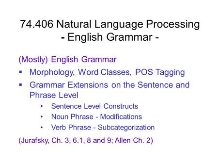 Natural Language Processing - English Grammar -