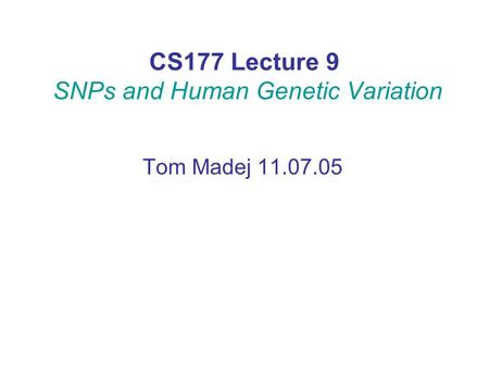 CS177 Lecture 9 SNPs and Human Genetic Variation Tom Madej 11.07.05.