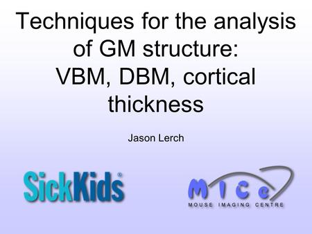 Techniques for the analysis of GM structure: VBM, DBM, cortical thickness Jason Lerch.