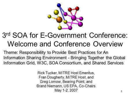 1 3 rd SOA for E-Government Conference: Welcome and Conference Overview Rick Tucker, MITRE Host Emeritus, Fran Dougherty, MITRE Host, and Greg Lomow, Bearing.